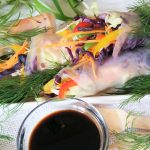 Rainbow Raw Vegetable Rolls with Soy Sauce